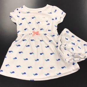 Carter's whale print dress with diaper cover
